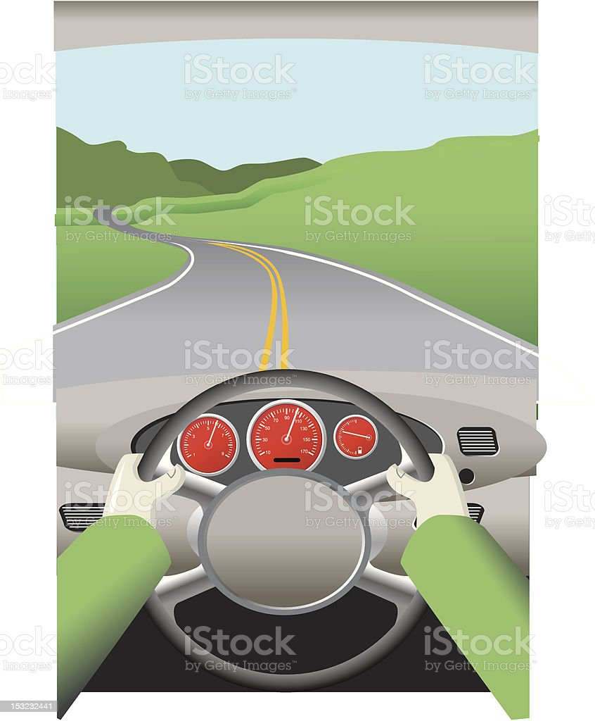 Drawing of a person driving a car on a winding road vector art illustration