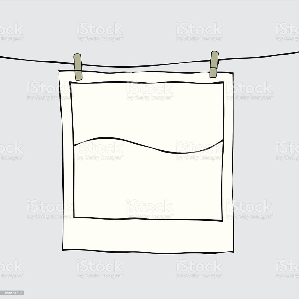 A drawing of a photo being hung to dry royalty-free stock vector art