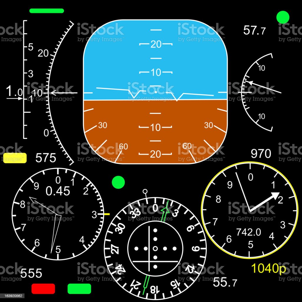 Drawing of a plane cockpit with dials & clocks vector art illustration