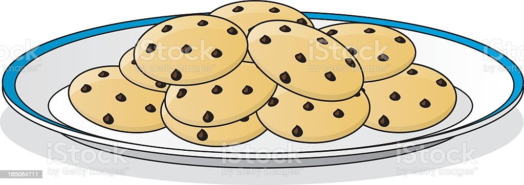 A drawing of a plate full of chocolate chip cookies  royalty-free stock vector art