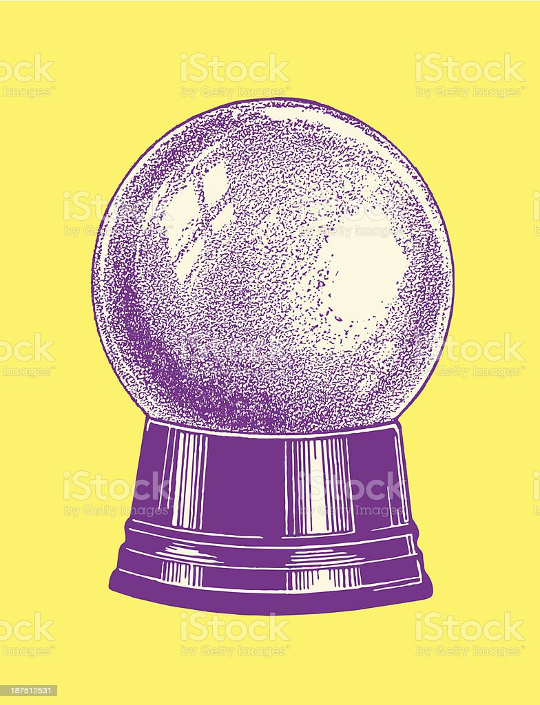 Drawing of a purple crystal ball on a yellow background vector art illustration