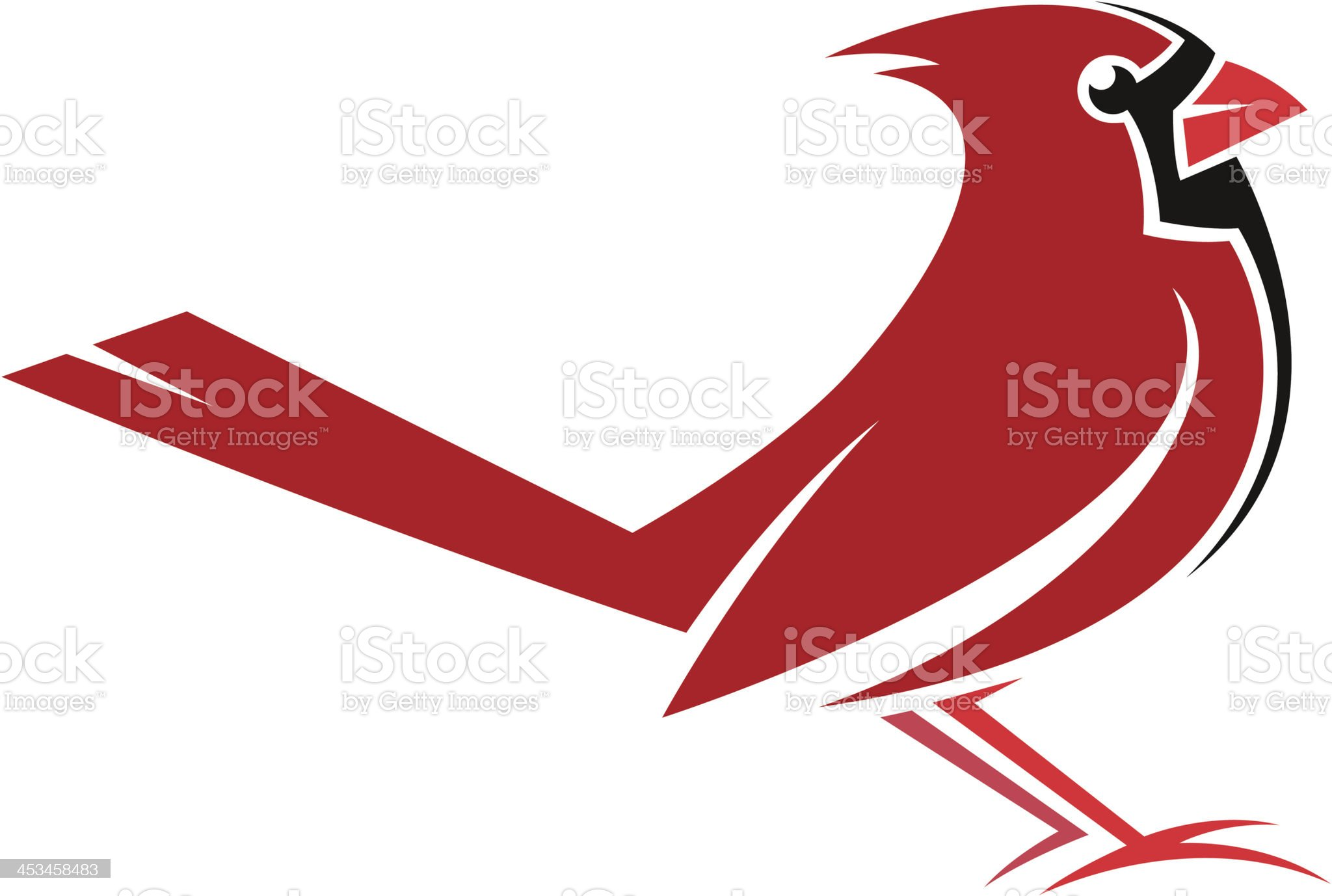 A drawing of a red and black Cardinal royalty-free stock vector art