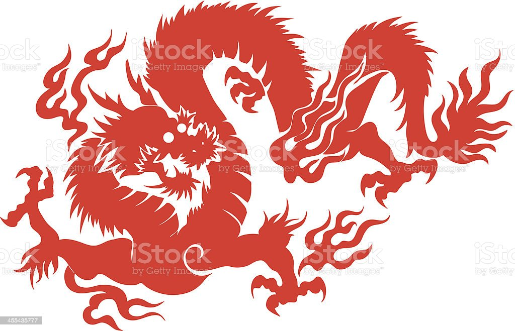A drawing of a red Chinese dragon vector art illustration