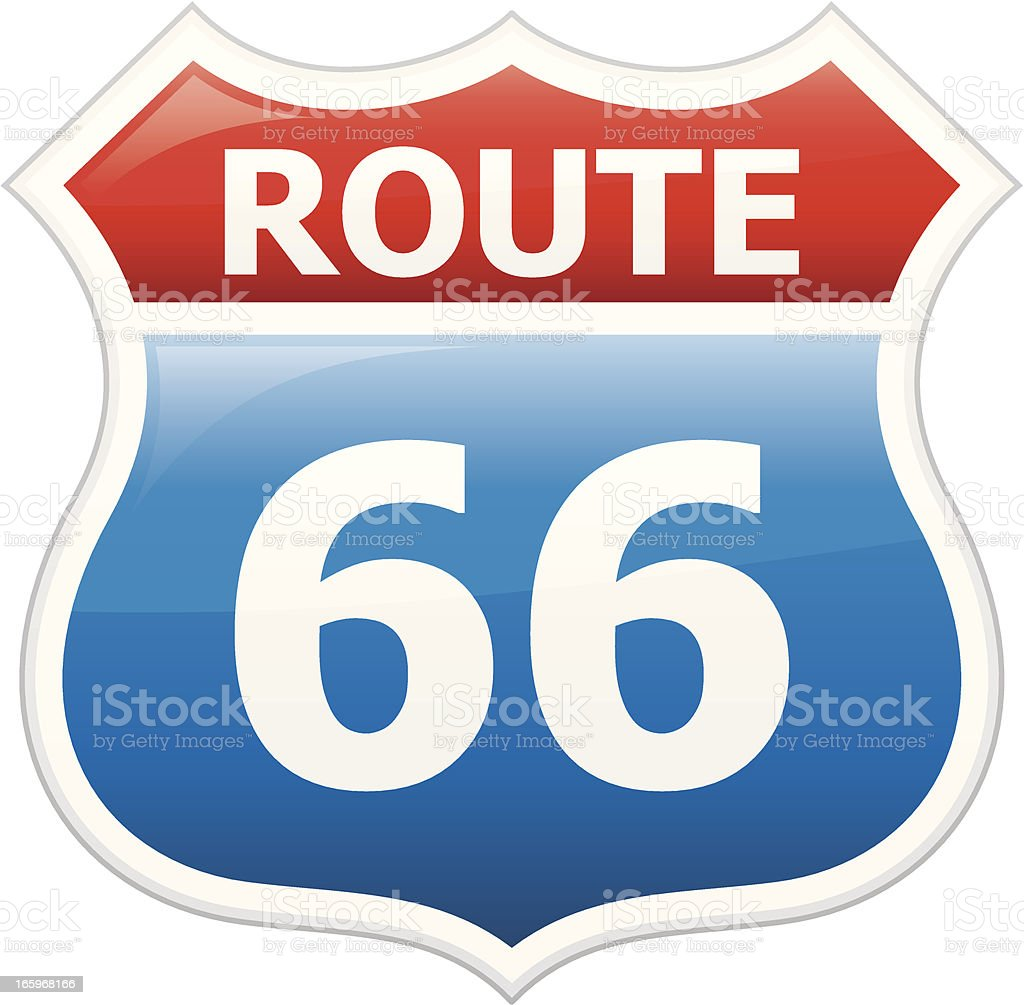 A drawing of a red, white and blue sign that reads Route 66 royalty-free stock vector art