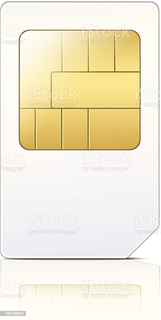A drawing of a SIM card for a mobile phone vector art illustration