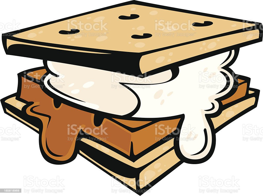 Drawing of a s'more with a melted marshmallow vector art illustration