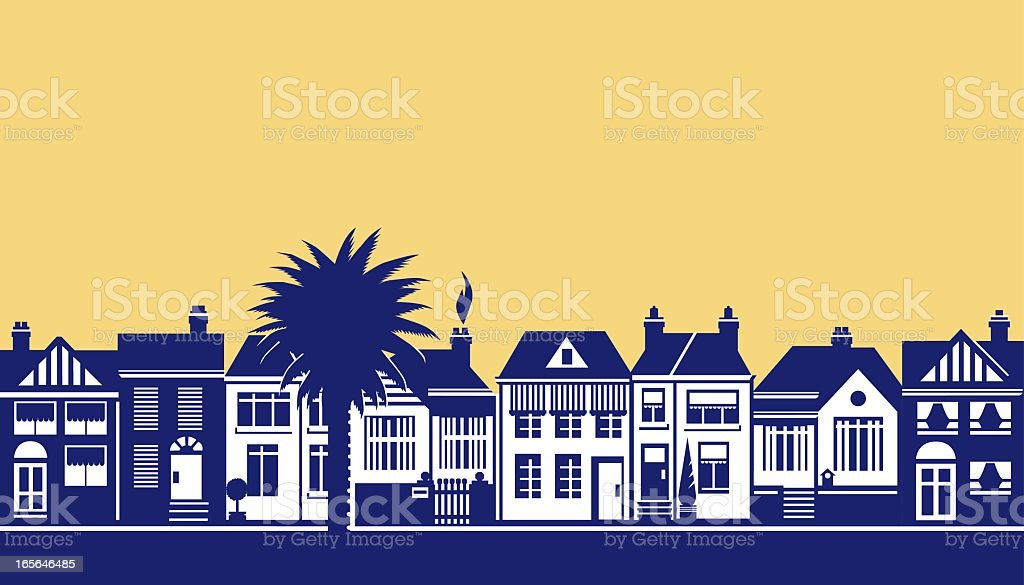 A drawing of a street scene in blue on soft yellow royalty-free stock vector art