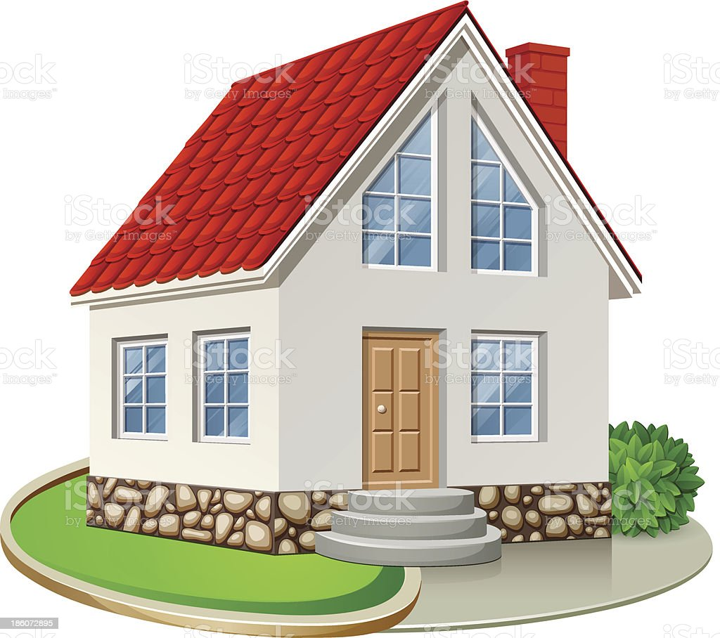 A drawing of a two story house with a red roof vector art illustration