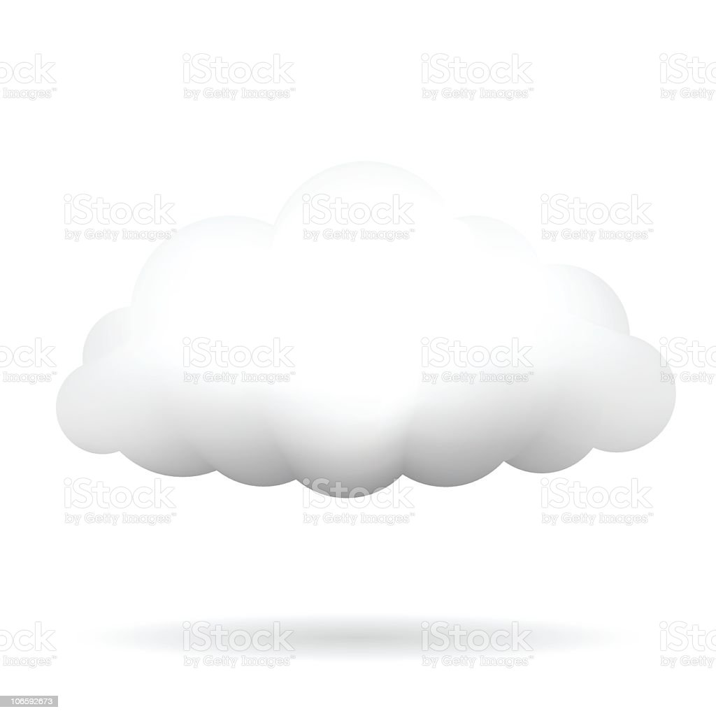 A 3D drawing of a white cloud casting a shadow below vector art illustration