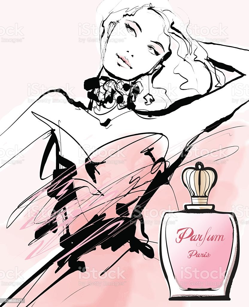 Drawing of a woman advertising for a perfume vector art illustration