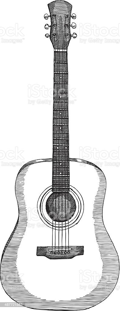 Drawing of an acoustic guitar in black and white royalty-free stock vector art