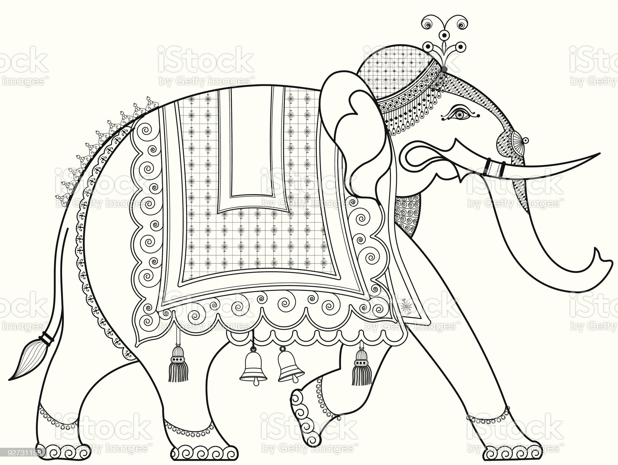 A drawing of an adorned Indian elephant royalty-free stock vector art