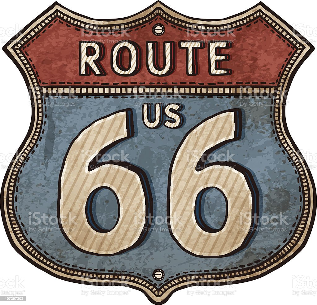 Drawing of an old rusty American sign for Route 66 vector art illustration