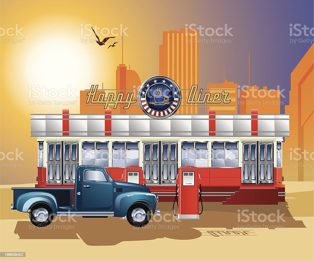 A drawing of an old-fashioned diner with a gas station vector art illustration