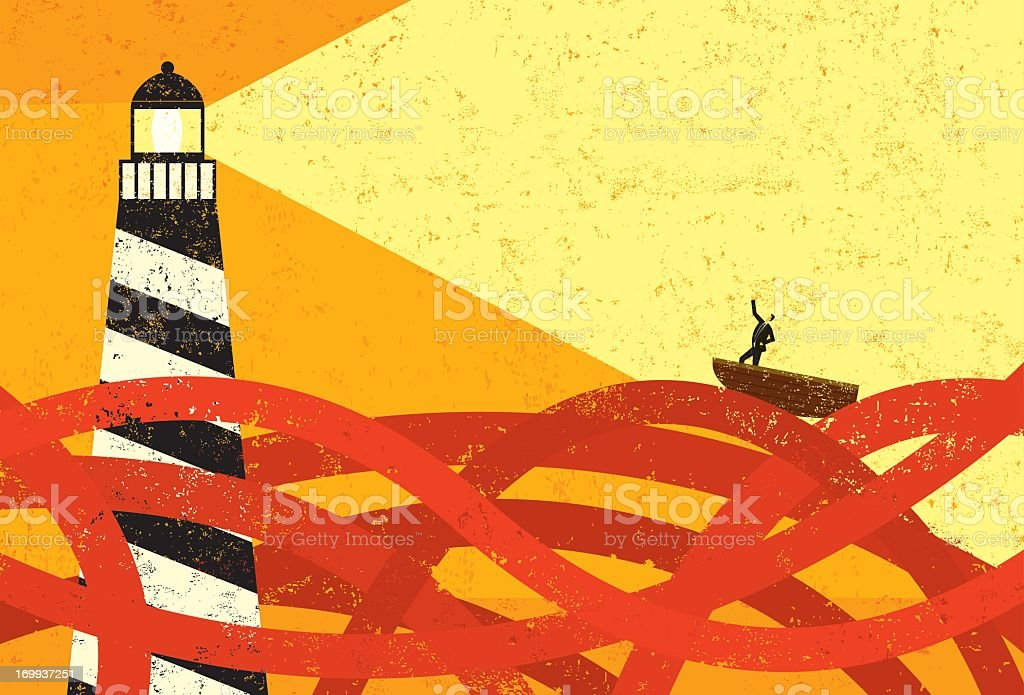 Drawing of boat on Red Sea being guided by lighthouse vector art illustration