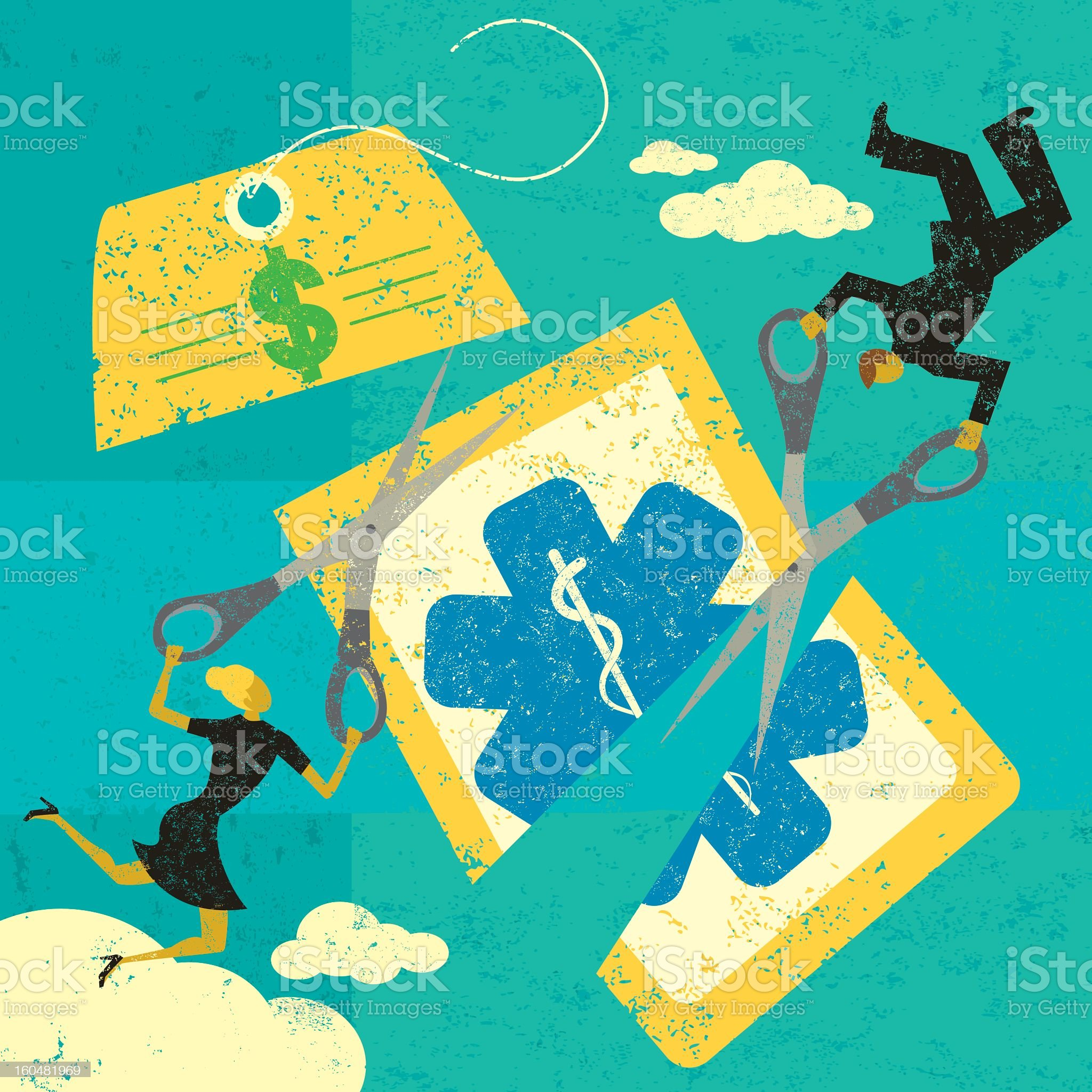 Drawing of businessman and woman cutting healthcare costs royalty-free stock vector art
