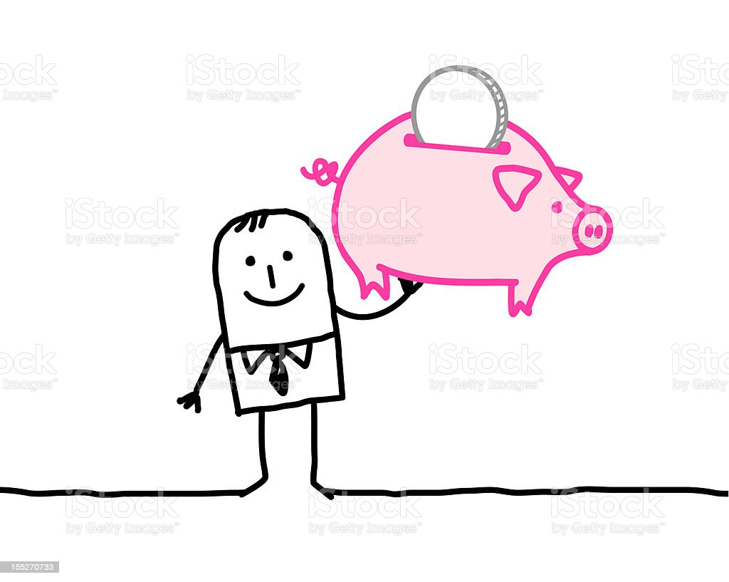Drawing of businessman holding up a piggy bank royalty-free stock vector art