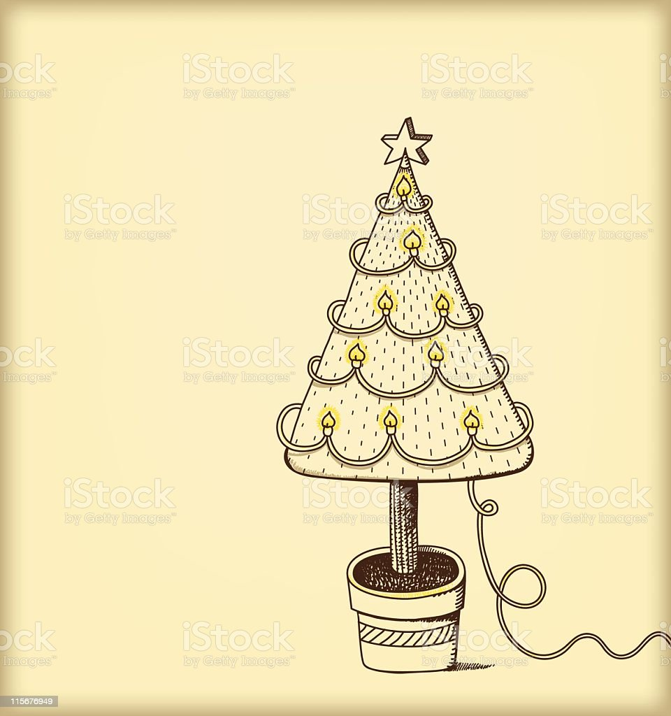 Drawing of christmas tree and fairy lights royalty-free stock vector art
