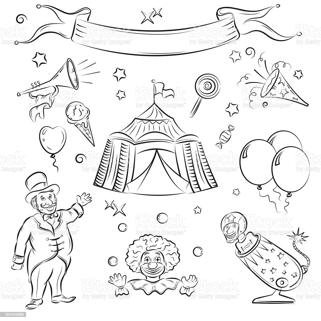 A drawing of circus icons and figures royalty-free stock vector art