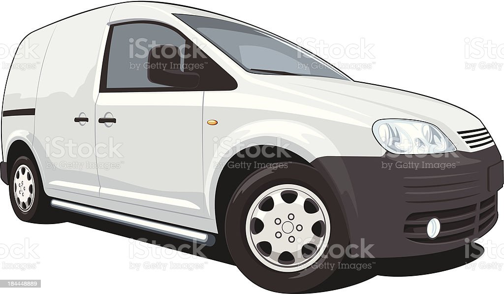 Drawing of commercial white van in white background vector art illustration