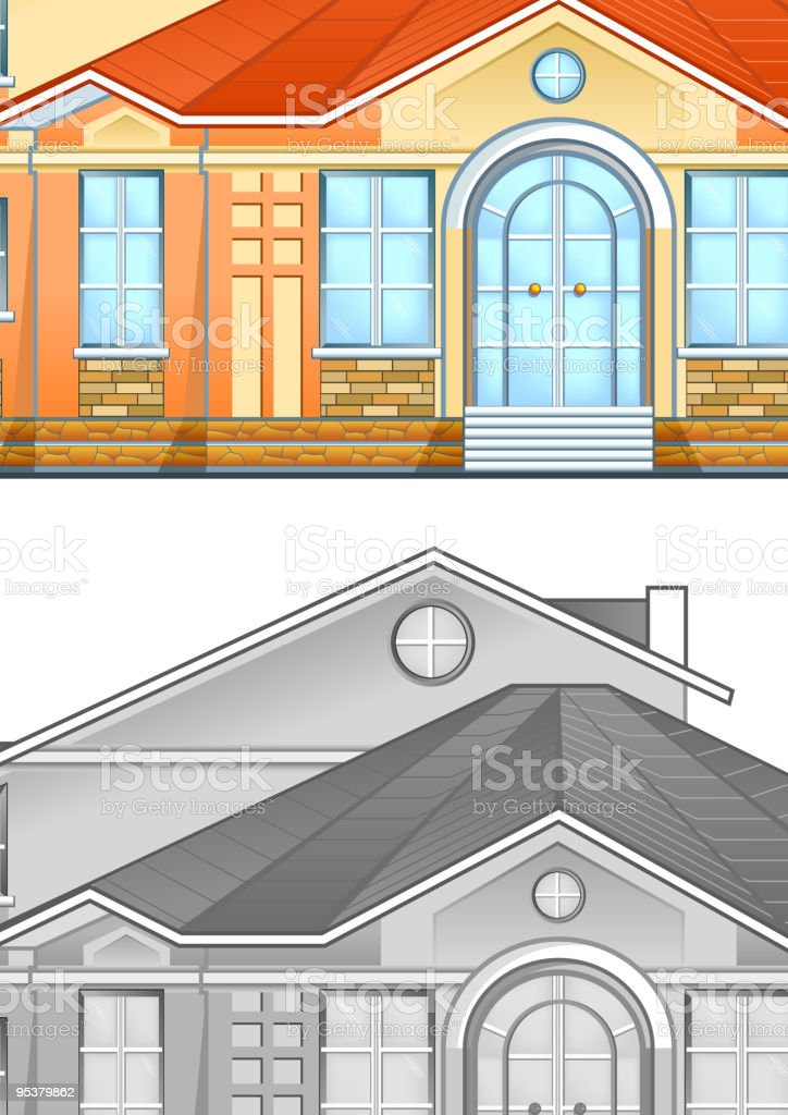 Drawing of country residence royalty-free stock vector art
