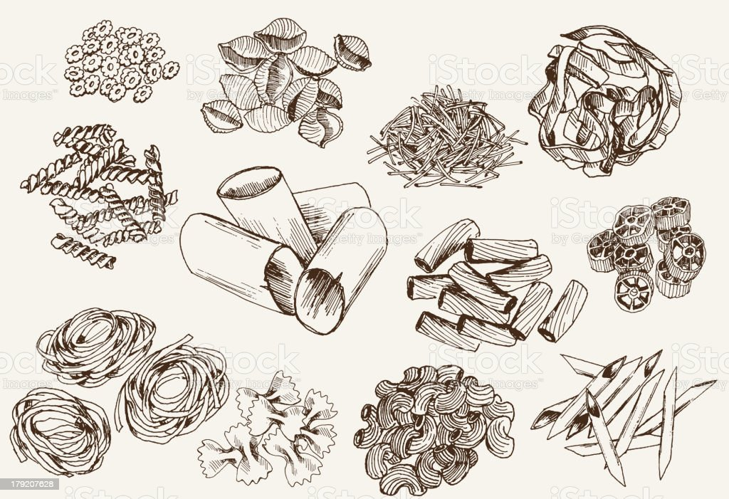 Drawing of different types of pasta vector art illustration
