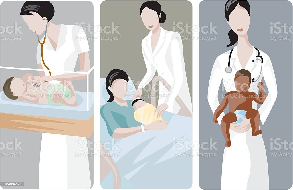 Drawing of Female doctor working with various babies royalty-free stock vector art