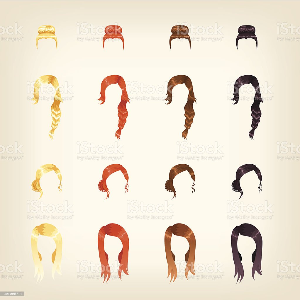 Drawing of female hairstyles in a variety of styles vector art illustration