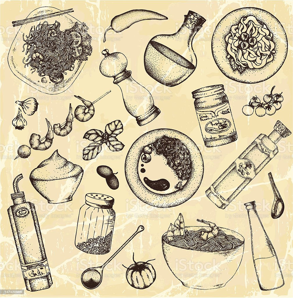 Drawing of food and cooking items on light brown vector art illustration