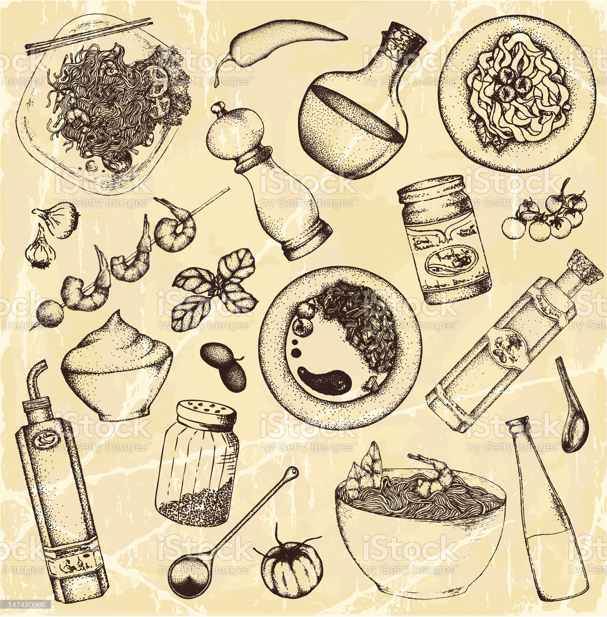 Drawing of food and cooking items on light brown royalty-free stock vector art