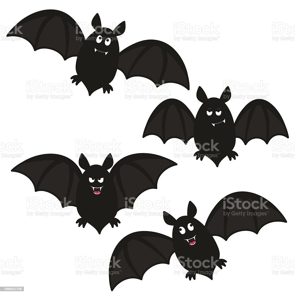 Drawing of four funny looking black bats vector art illustration
