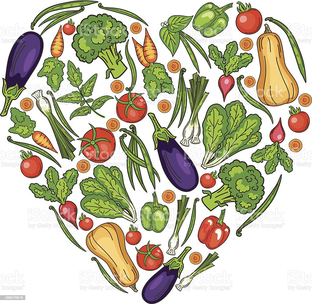 Drawing of garden vegetables in the shape of a heart. vector art illustration