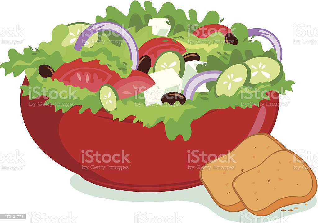 Drawing of Greek salad with lettuce, tomato, cucumber royalty-free stock vector art