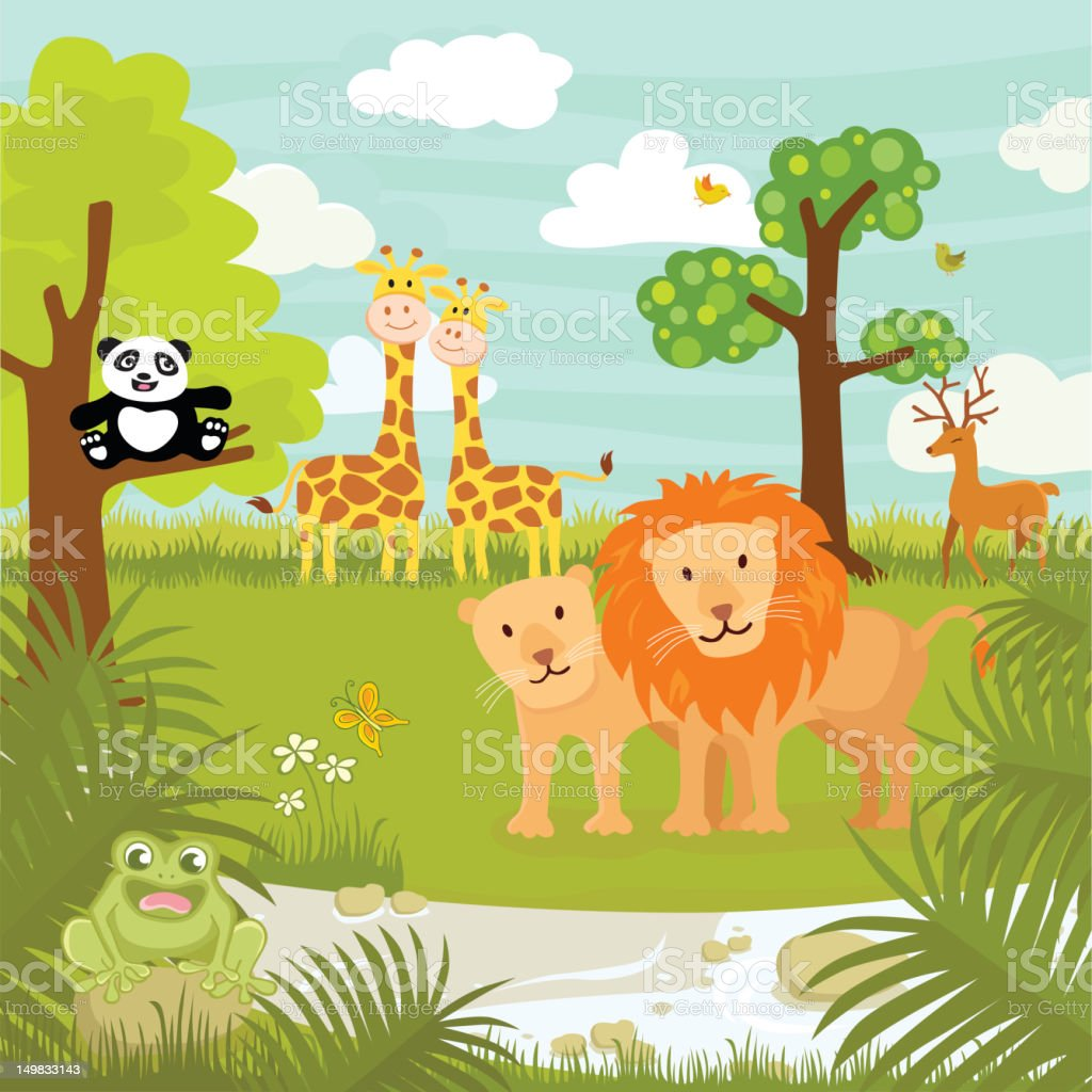 Drawing of jungle animals in the jungle vector art illustration