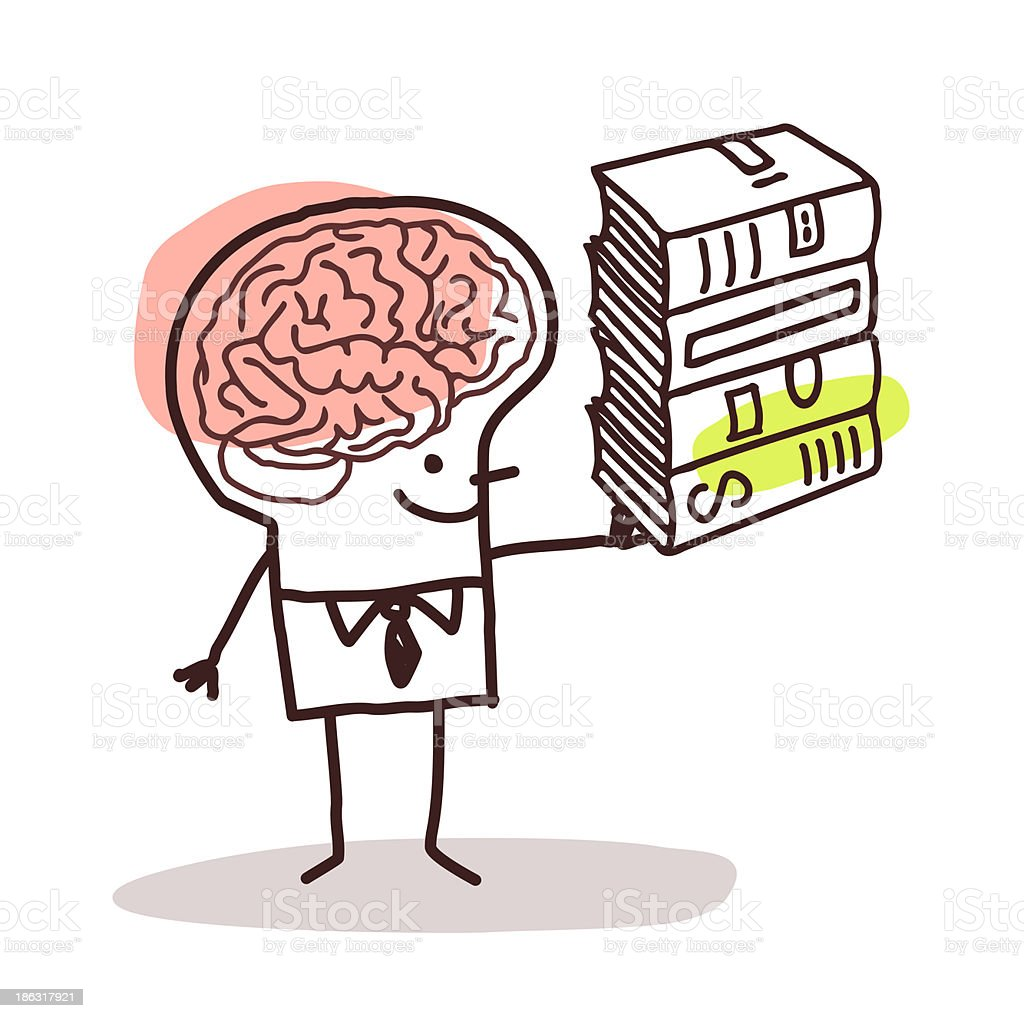 Drawing of man with giant brain holding stack of books vector art illustration