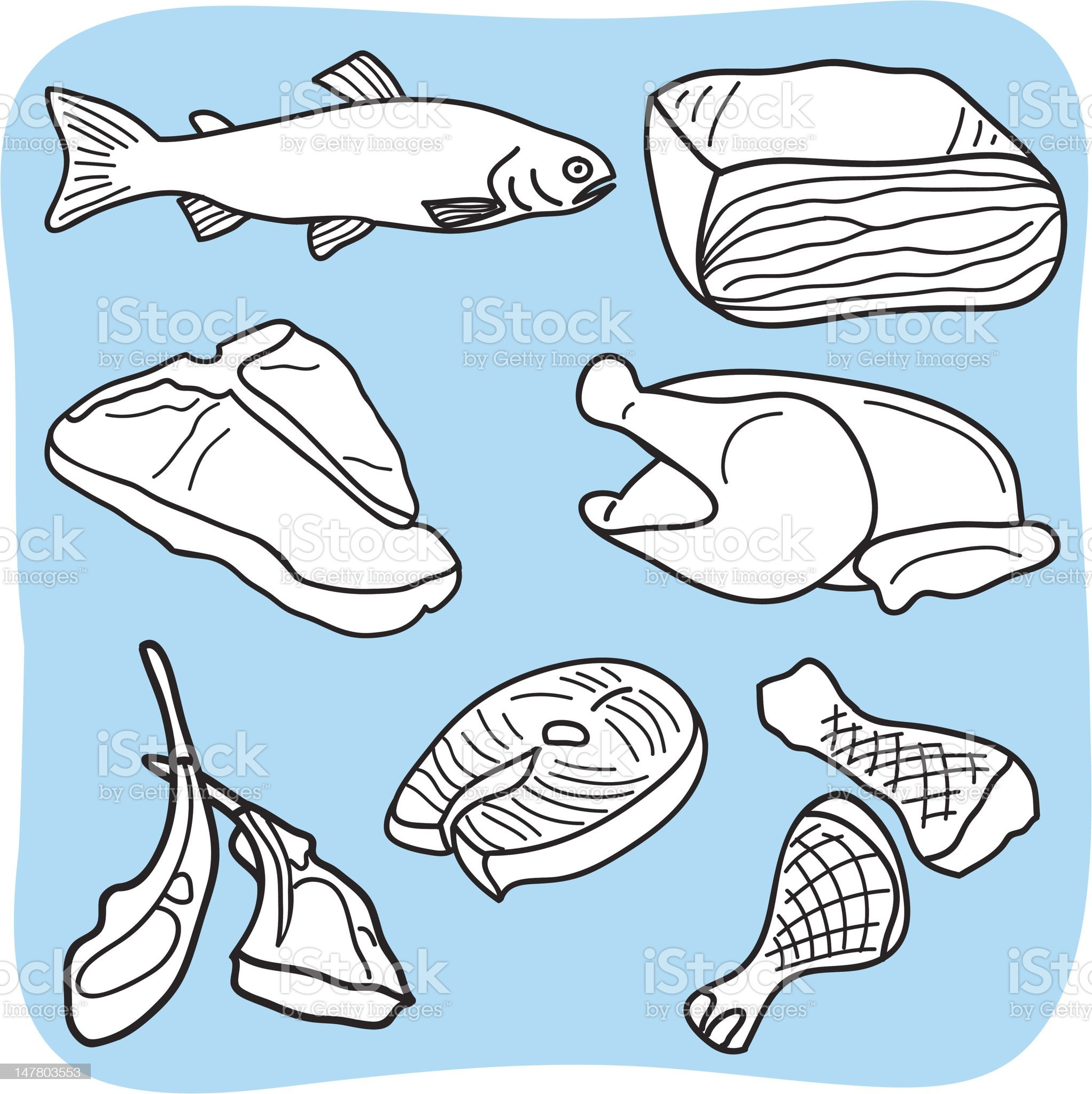 Drawing of meat, fish and poultry royalty-free stock vector art