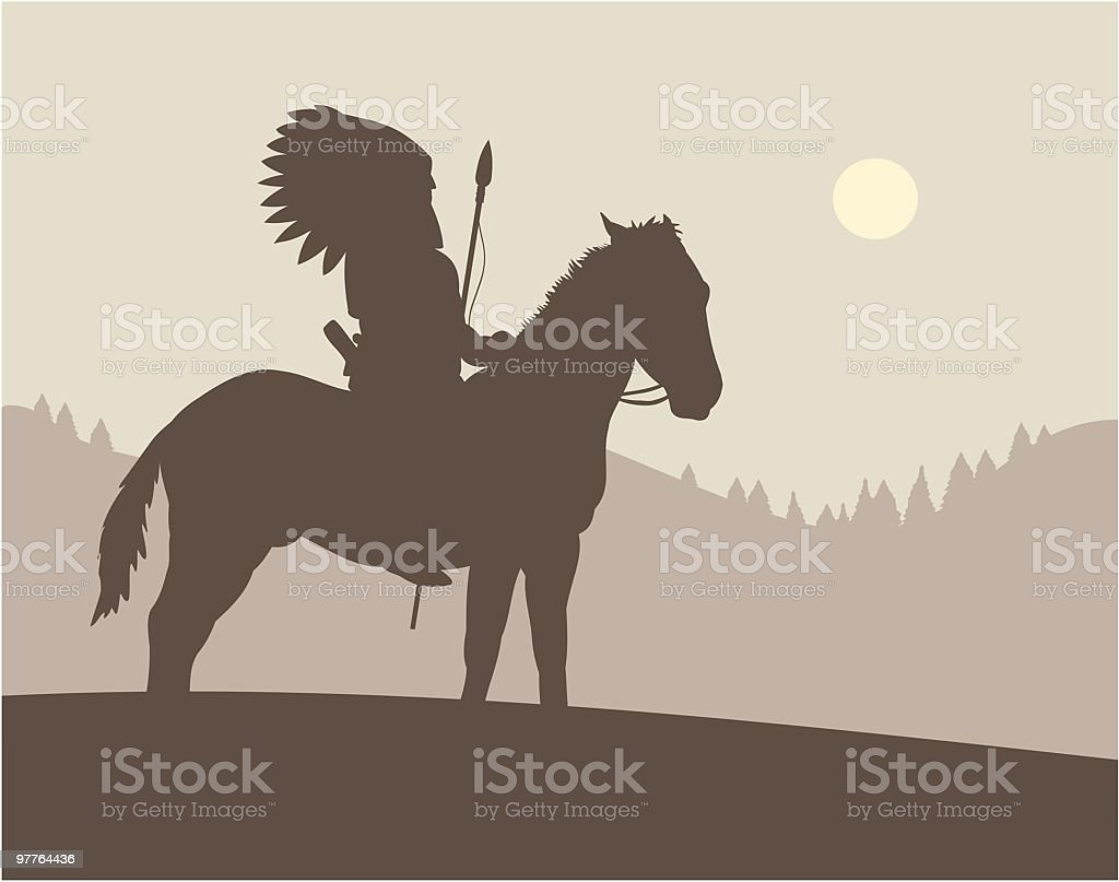 Drawing of native american chief on top of a horse vector art illustration