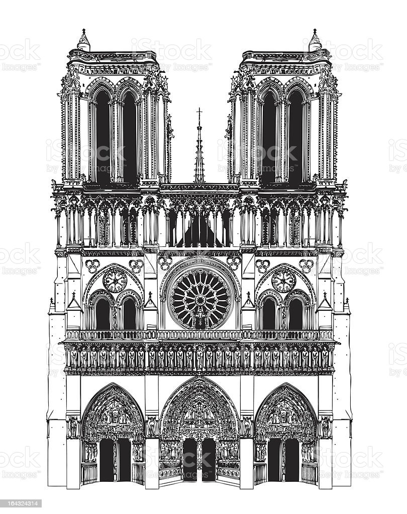 Drawing of Notre-dame cathedral royalty-free stock vector art