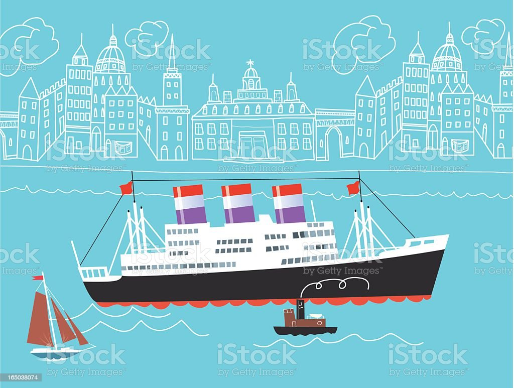 Drawing of ocean liner in front of city skyline royalty-free stock vector art