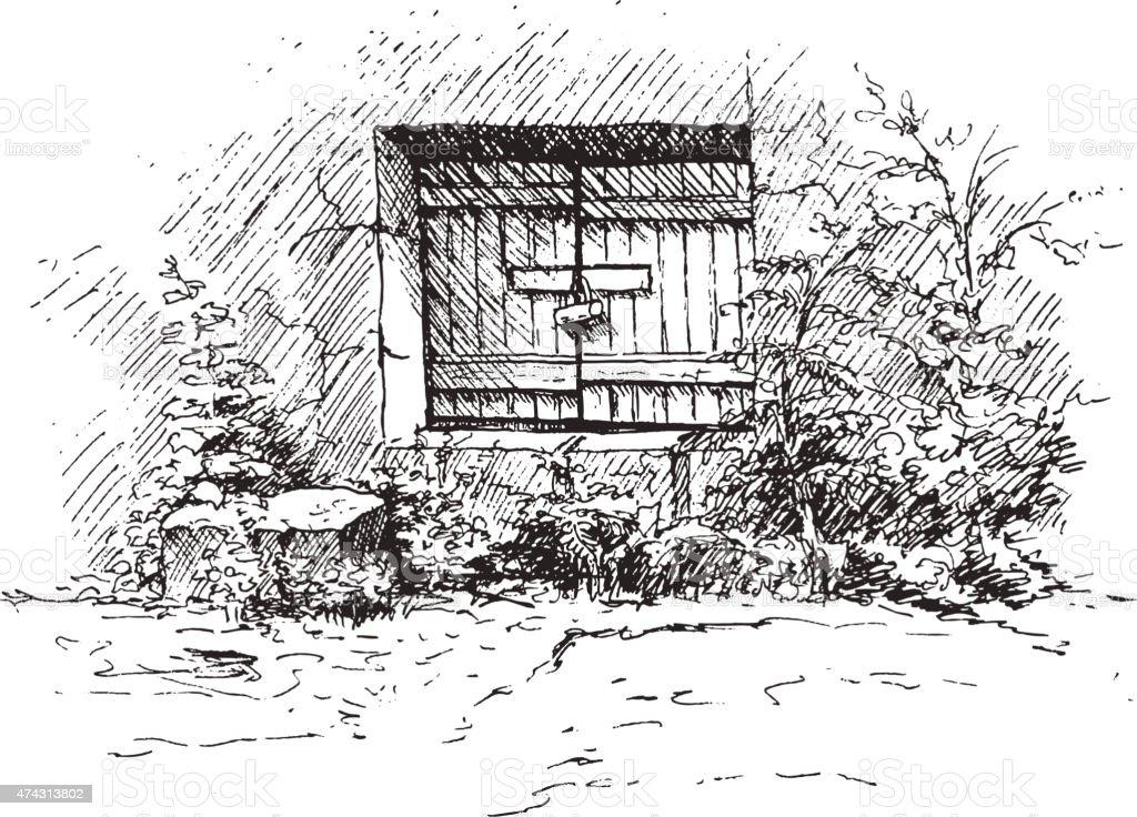 Drawing of old cellar vector art illustration