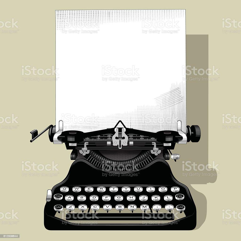 Drawing of old typewriter vector art illustration