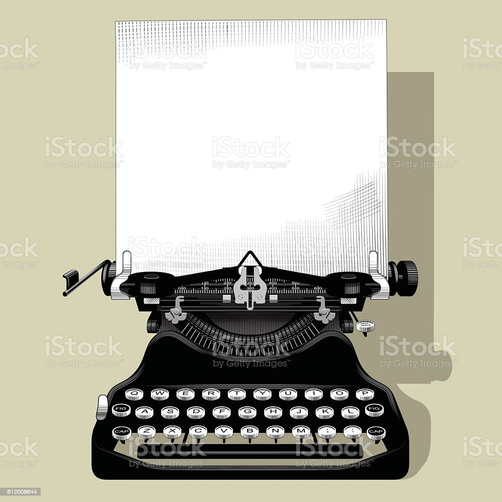 Drawing of old typewriter vector art illustration