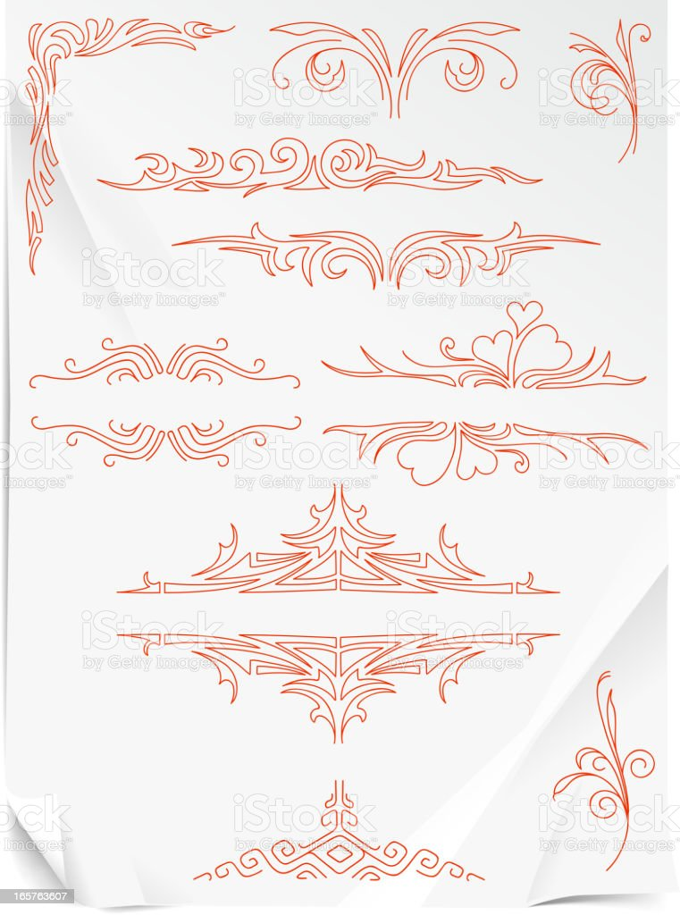drawing of ornament on paper vector art illustration