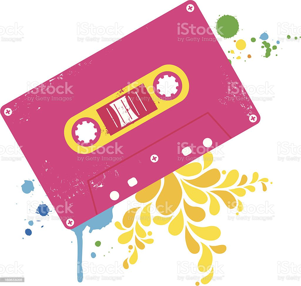 Drawing of pink retro cassette royalty-free stock vector art