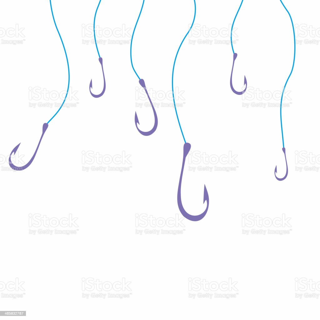 Drawing of purple hooks hanging off blue lines stock photo
