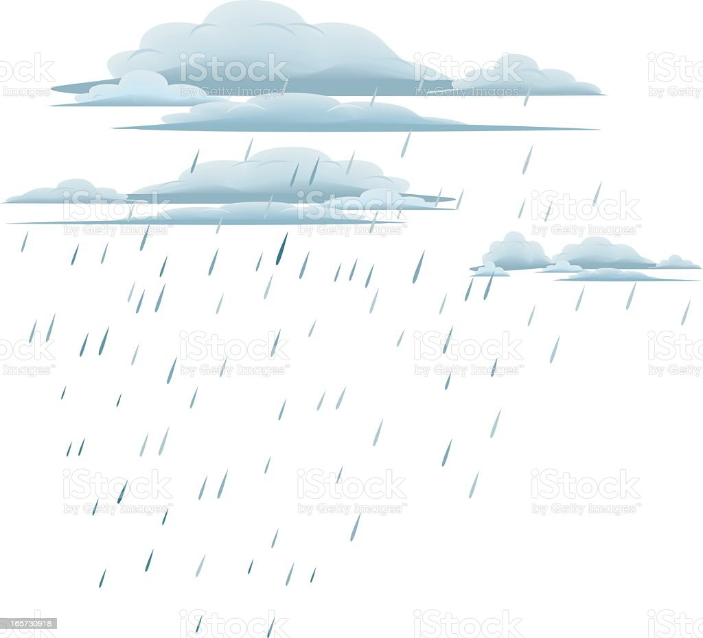 Drawing of rain and rain clouds on a white background vector art illustration