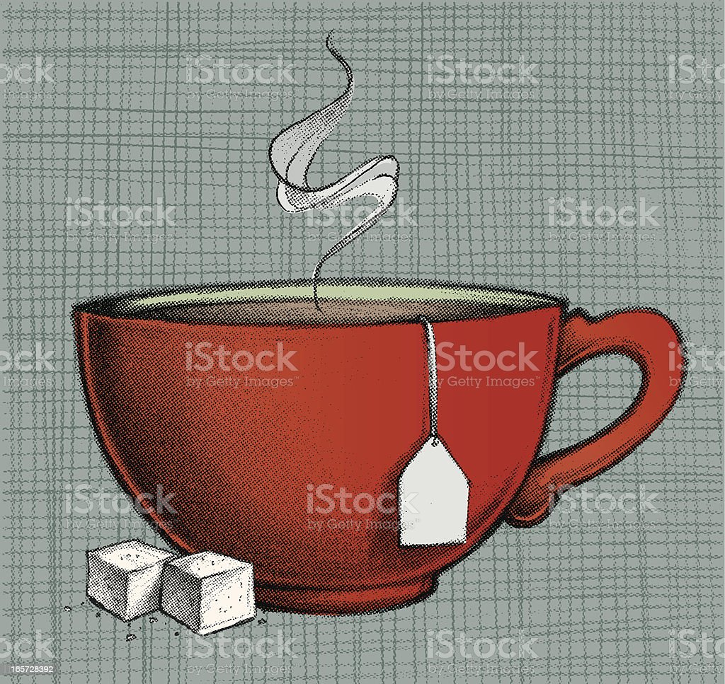 Drawing of red cup of hot tea and two lumps of sugar royalty-free stock vector art