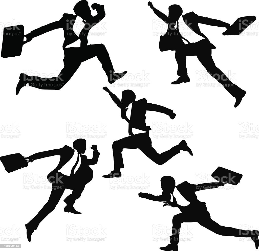 Drawing of silhouettes of businessmen jumping and running vector art illustration