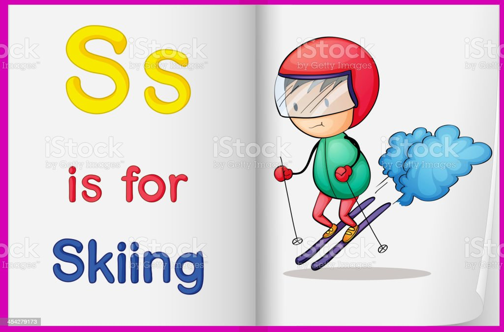 drawing of skiing on a book royalty-free stock vector art