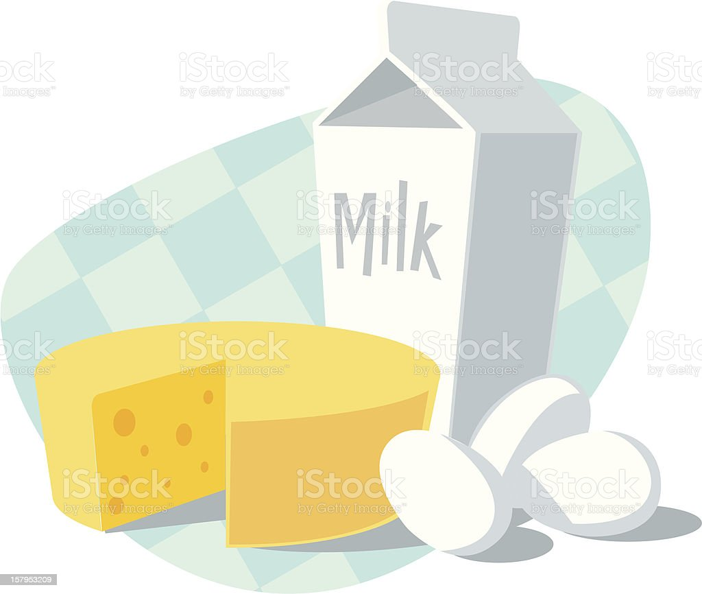 A drawing of some cheese, milk and eggs royalty-free stock vector art